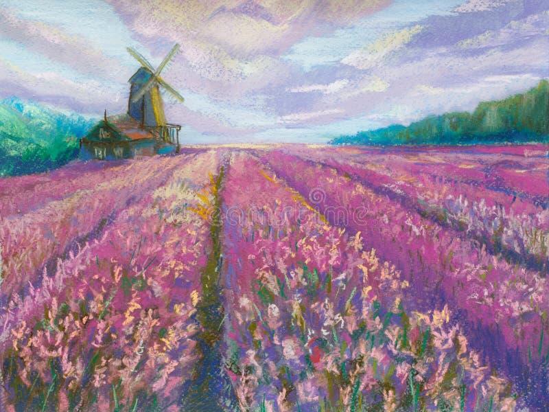 Pintura pastel no papel 'moinho no campo da alfazema ' fotografia de stock