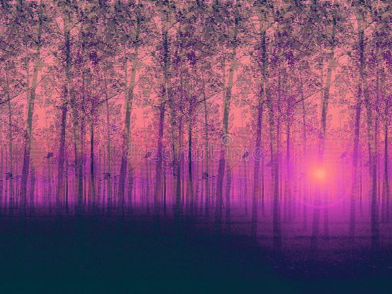 Pintura pintada artística de la granja de árbol ajardinada de álamo y de la exploración misteriosa libre illustration