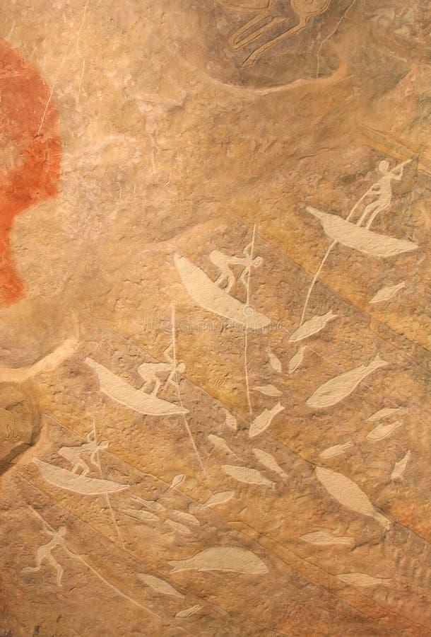 Pintura pré-histórica da caça ilustração do vetor
