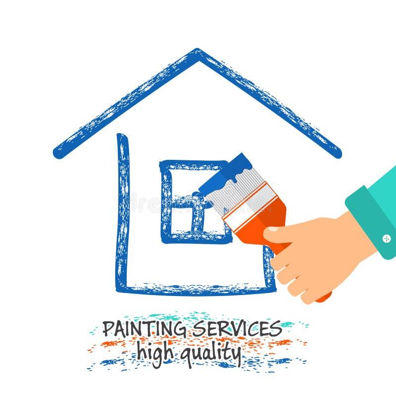 A pintura presta serviços de manutenção ao logotipo Uma mão com uma escova tira uma silhueta de uma casa estoque ilustração do vetor