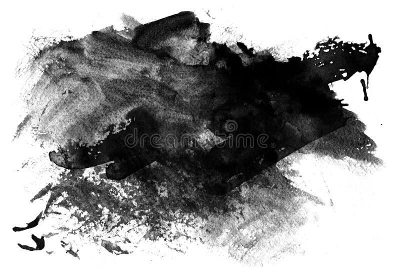 Pintura preta manchada no branco ilustração do vetor