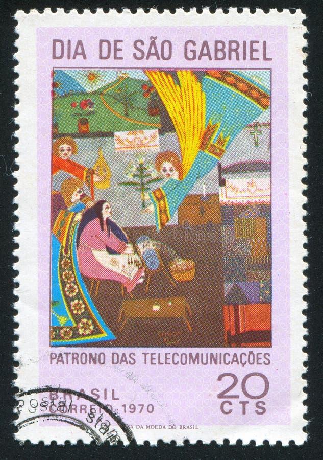 Pintura primitiva brasileira do aviso fotografia de stock