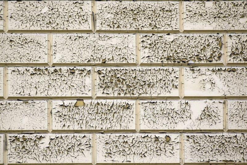 Pintura rachada e descascando cinzenta em uma parede de tijolo suja velha Textura abstrata da pintura velha Estrutura da parede d fotos de stock royalty free