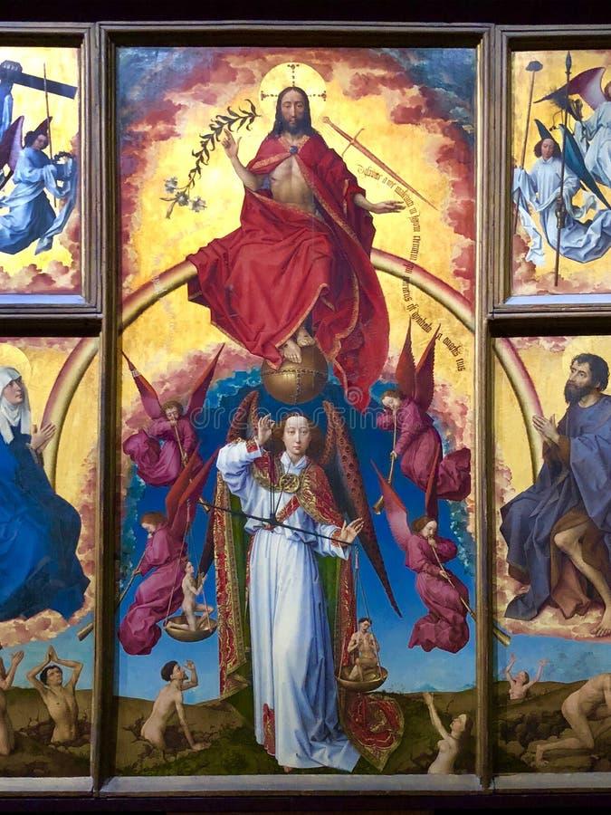 Pintura religiosa em Hospices de Beaune Beaune - França imagem de stock royalty free