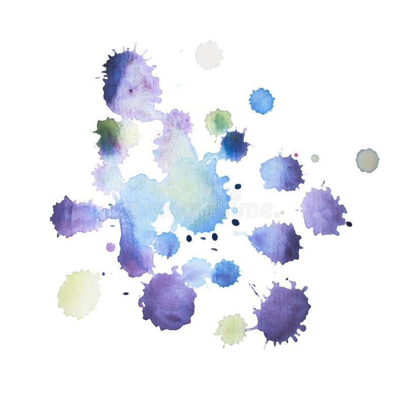 Pintura retra colorida de la mano del arte de la acuarela del watercolour del extracto del vintage en el fondo blanco imagenes de archivo
