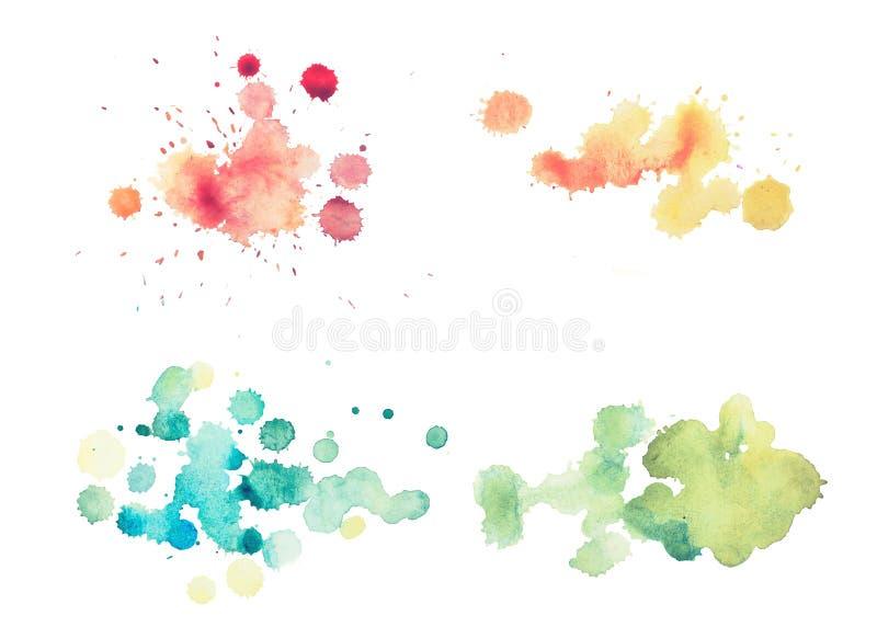 Pintura retra colorida de la mano del arte de la acuarela del watercolour del extracto del vintage en el fondo blanco imagen de archivo libre de regalías