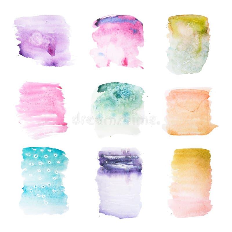 Pintura retra colorida de la mano del arte de la acuarela del watercolour del extracto del vintage en el fondo blanco fotografía de archivo libre de regalías