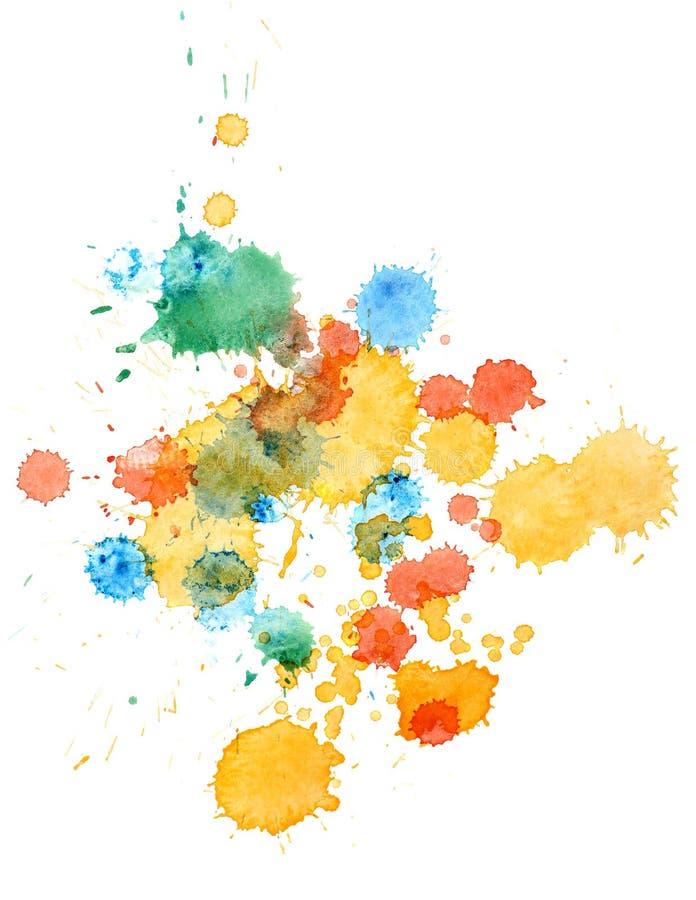 Pintura retro colorida da mão da arte do aquarelle do watercolour do sumário do vintage no fundo branco pintura com manchas da pi ilustração stock