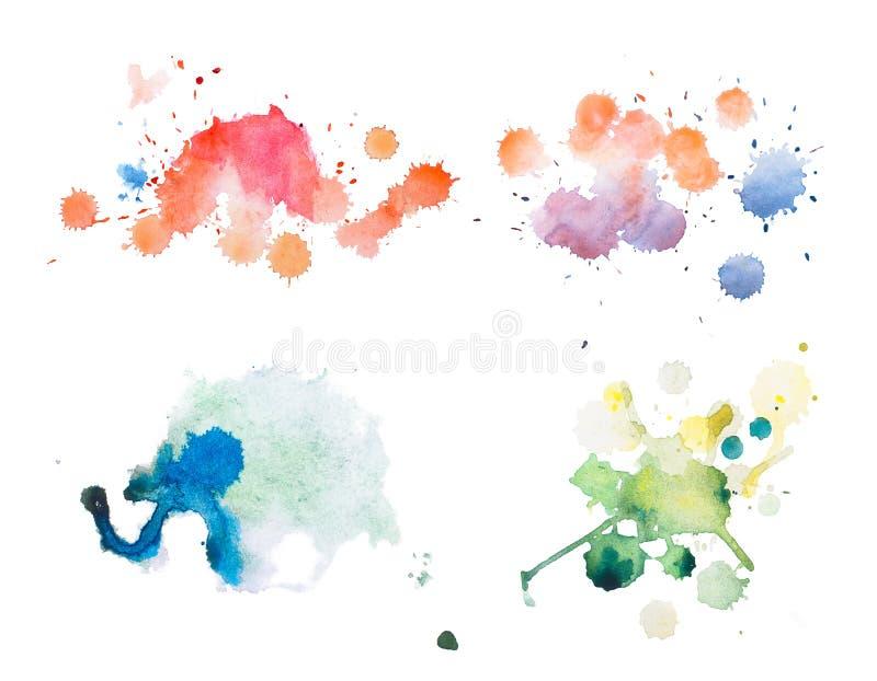 Pintura retro colorida da mão da arte do aquarelle do watercolour do sumário do vintage no fundo branco ilustração stock