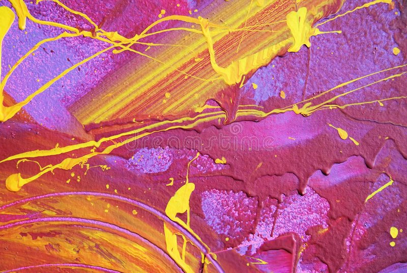 Pintura rosada y amarilla abstracta foto de archivo libre de regalías