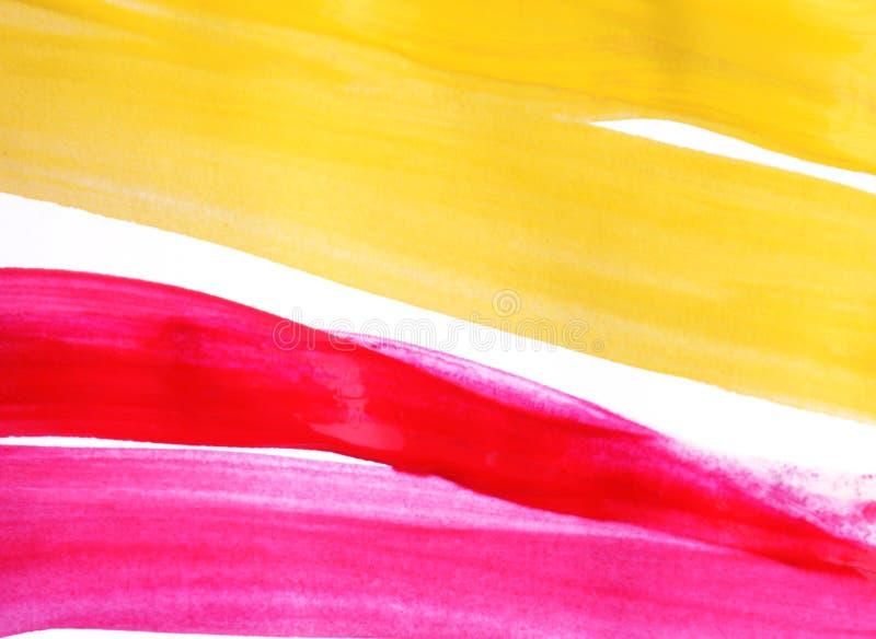 Pintura rosada y amarilla del color de agua en el Libro Blanco imagenes de archivo