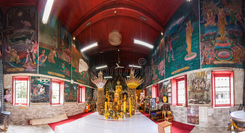 A pintura rural na parede do templo de Wat Wimuttayaram fotografia de stock royalty free