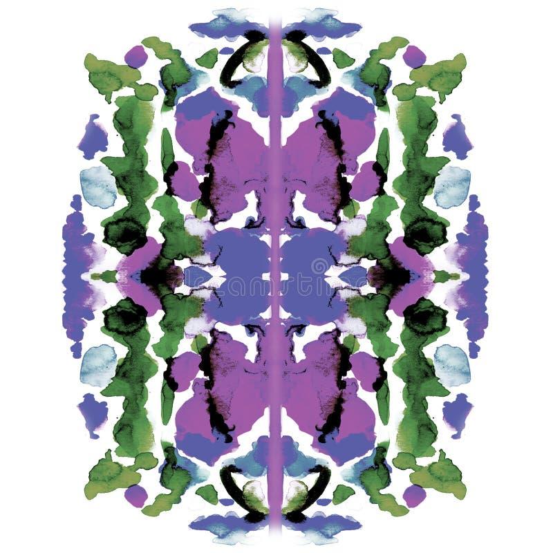 Pintura simétrica colorida de la acuarela stock de ilustración