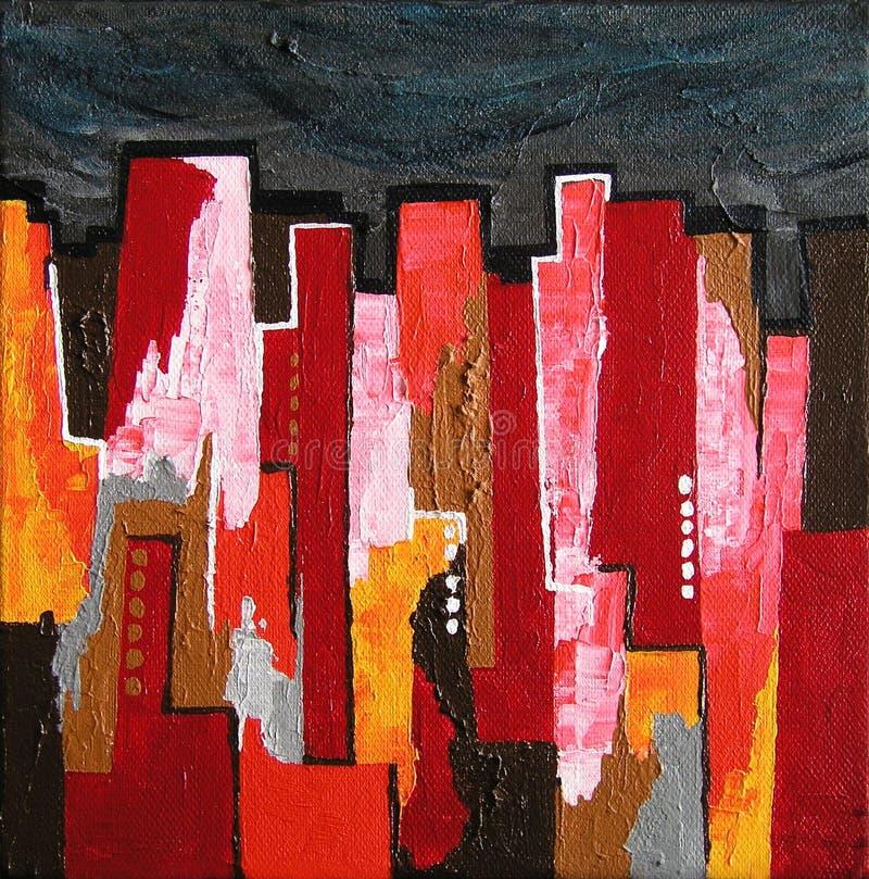 Pintura/skyline abstratas modernas em Noite ilustração royalty free