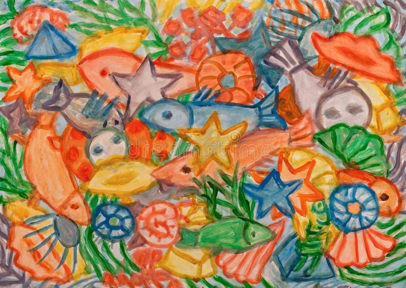 Pintura subaquática do sumário do mundo ilustração royalty free