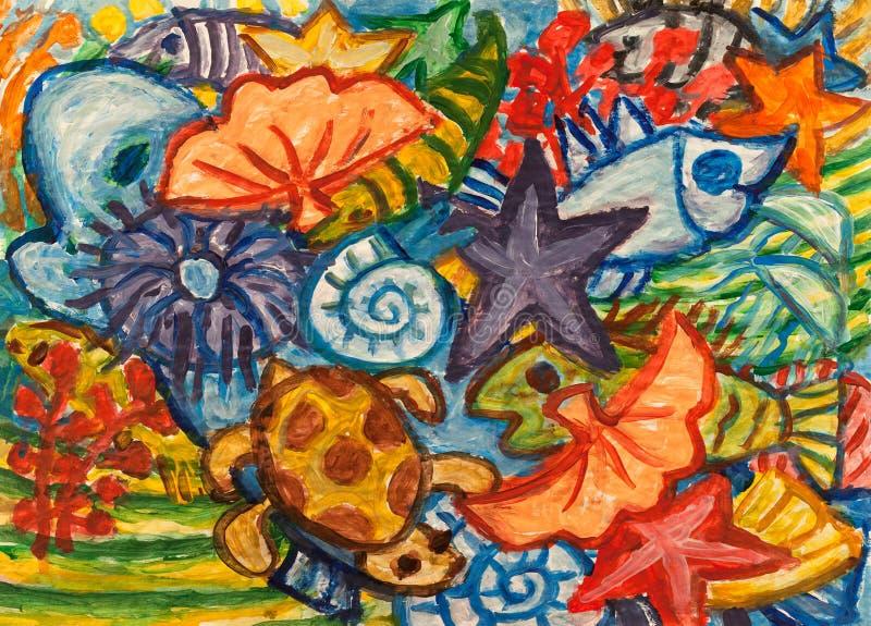 Pintura subaquática do sumário do mundo ilustração do vetor