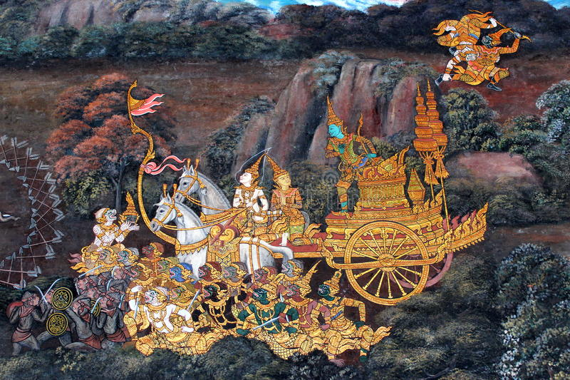 Pintura tailandesa da arte imagens de stock