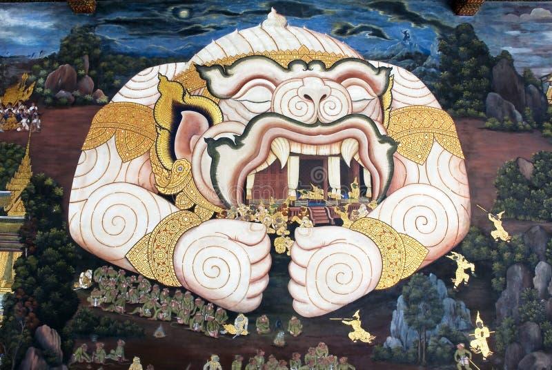 Pintura tailandesa da arte de Lai na parede no templo fotografia de stock royalty free