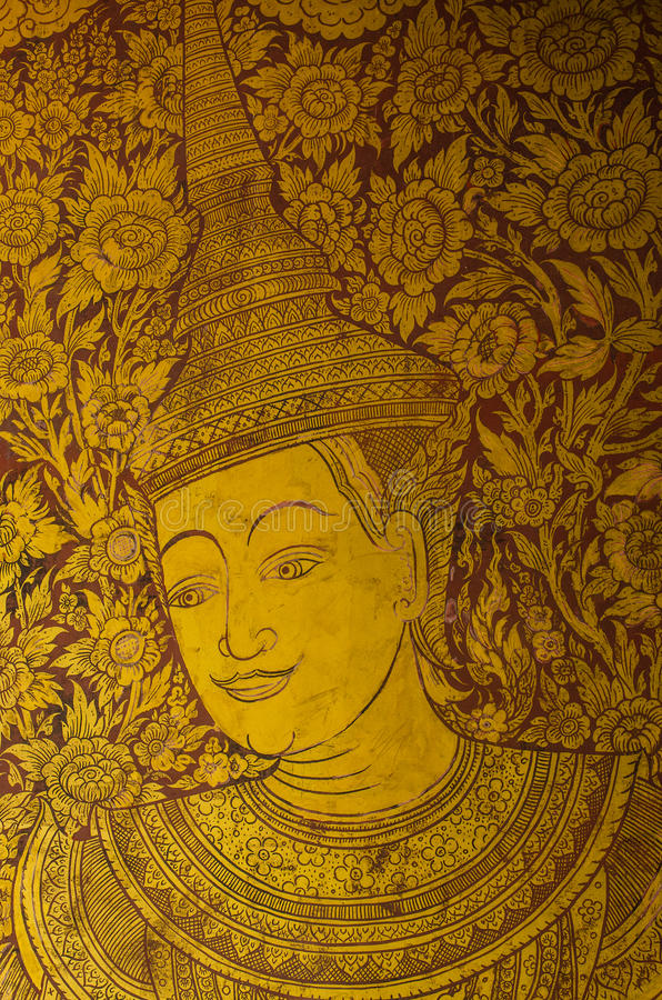Pintura tailandesa na parede imagem de stock