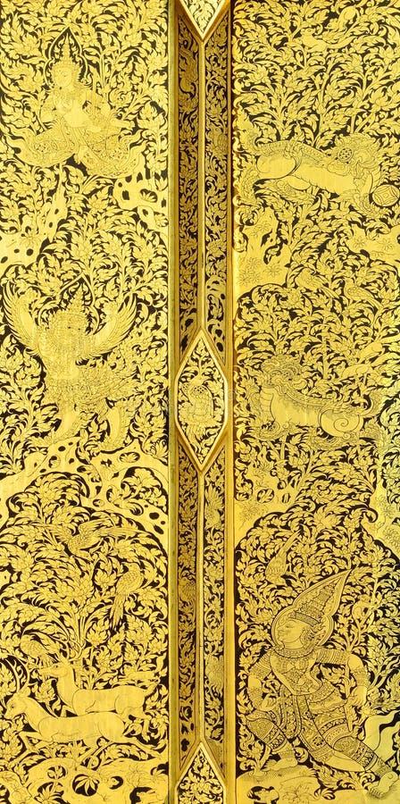 Pintura tailandesa no fundo de madeira do ouro imagens de stock