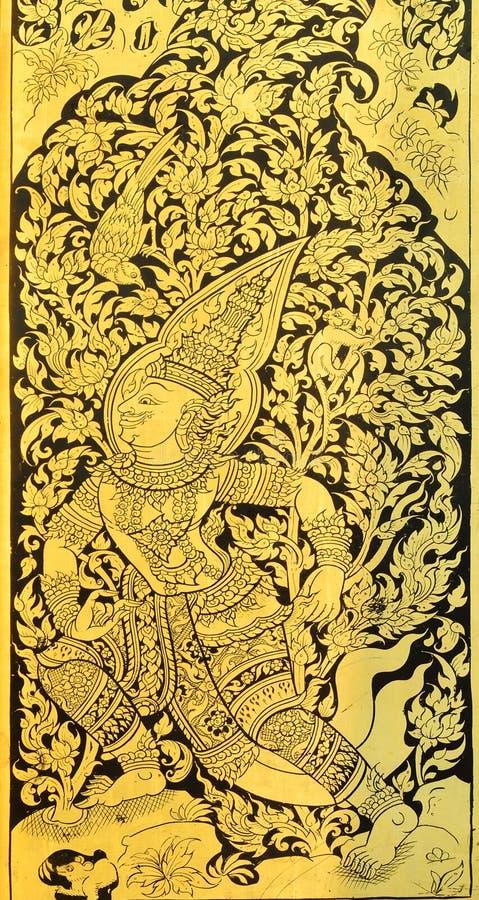 Pintura tailandesa no fundo de madeira do ouro foto de stock