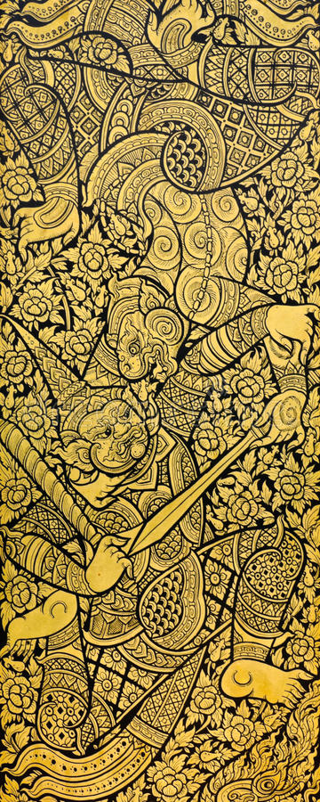 Pintura tailandesa tradicional imagem de stock royalty free