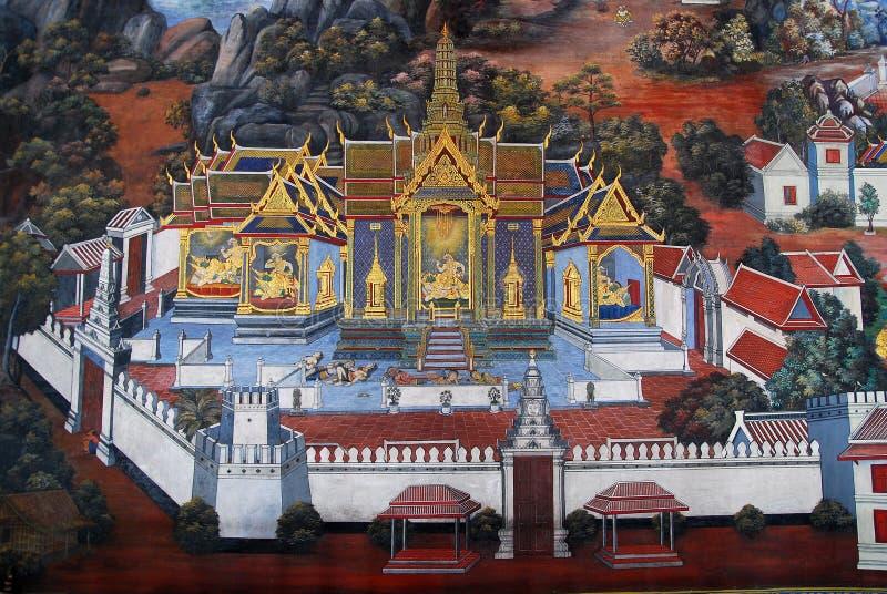 Pintura tailandesa tradicional da arte em Wat Phra Kaew foto de stock royalty free