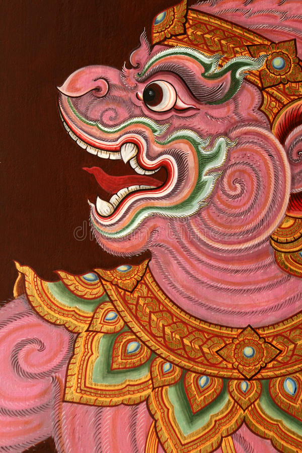 Pintura tailandesa tradicional do templo imagens de stock royalty free