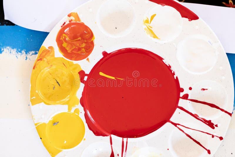 Pintura, testes padrões ou fundos diferentes de óleo da cor das várias cores, cores na tela foto de stock royalty free