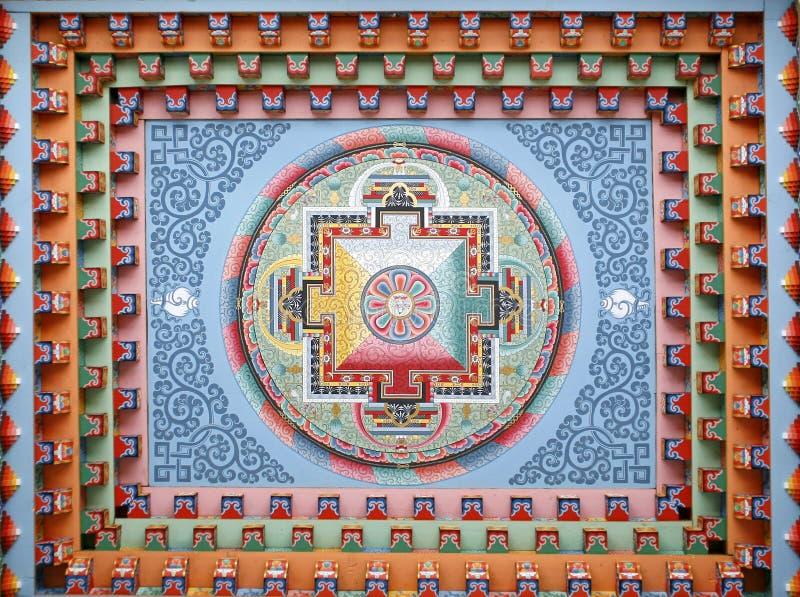 Pintura tibetana de la mandala en monestery foto de archivo