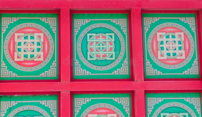 Pintura tibetana de la mandala en techo del monasterio foto de archivo