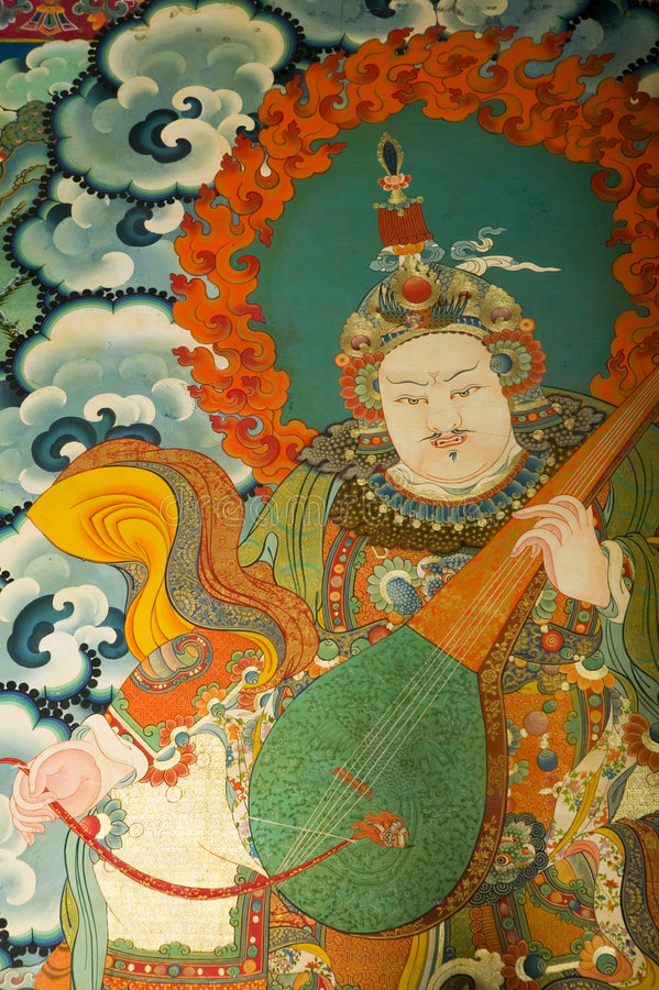 Pintura tibetana em Jokhang foto de stock