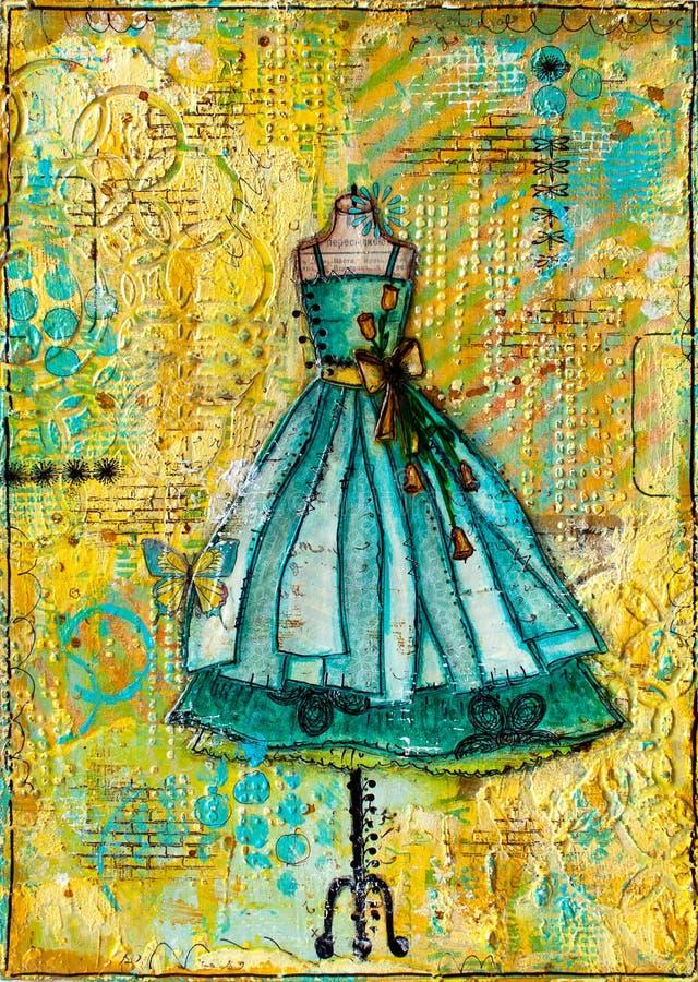 Pintura tirada mão do vestido do verão ilustração stock