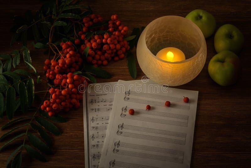 Pintura Todavía vida con las notas, flores, fruta, serbal en el fondo de madera Puede ser utilizado para crear los paquetes, cart fotos de archivo libres de regalías