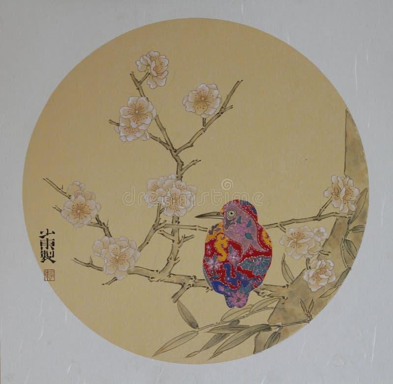 Pintura tradicional chinesa da flor e do pássaro foto de stock royalty free