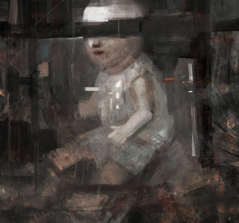 Pintura tradicional de Digitaces de un ejemplo asustadizo extraño extraño del concepto de la muñeca del extracto ilustración del vector