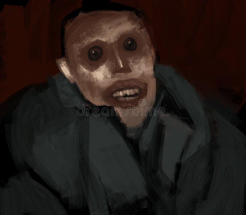 Pintura tradicional de Digitaces de un ejemplo espeluznante sonriente extraño del horror del hombre stock de ilustración