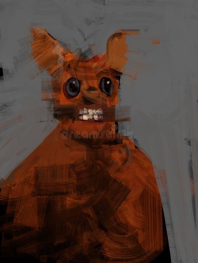Pintura tradicional de Digitaces de un ejemplo humano híbrido del arte del concepto del conejo rojo extraño libre illustration