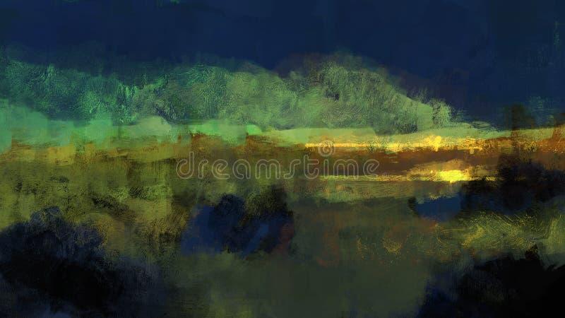 Pintura tradicional de Digitaces de un prado oscuro en cerca con las montañas en el ejemplo del paisaje de la distancia y de la p ilustración del vector