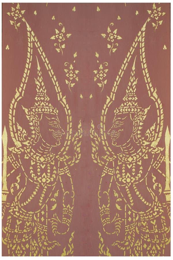 Pintura tradicional del fondo de oro del diseño del estampado de flores de los ángeles de los pares del adorno del arte tailandés imágenes de archivo libres de regalías