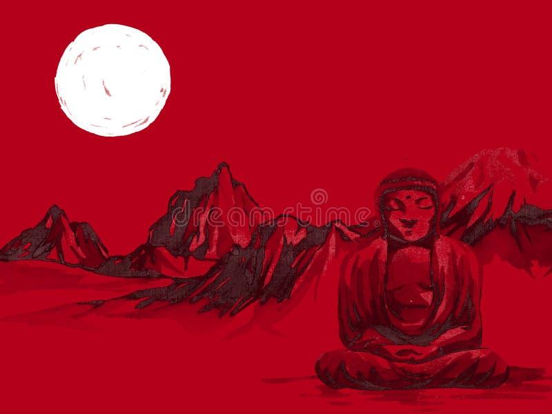 Pintura tradicional del sumi-e de Japón Ejemplo de la acuarela y de la tinta en el sumi-e del estilo, u-pecado Montaña de Fuji, S ilustración del vector
