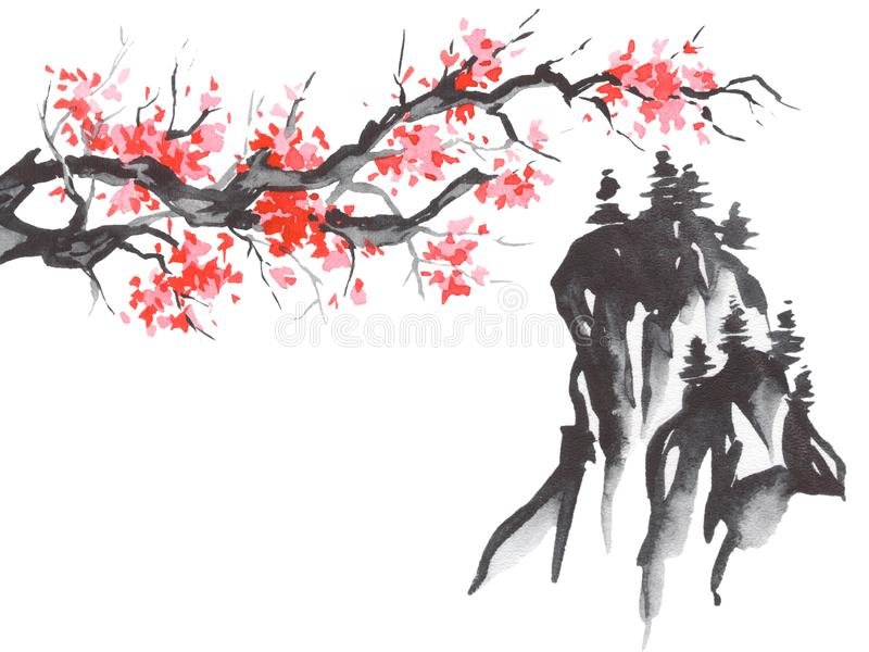 Pintura tradicional del sumi-e de Japón Montaña de Fuji, Sakura, puesta del sol Sol de Japón Ejemplo de la tinta india Imagen jap ilustración del vector