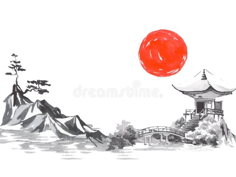 Pintura tradicional do sumi-e de Japão Montanha de Fuji, sakura, por do sol Sol de Japão Ilustração da tinta indiana Imagem japon ilustração stock