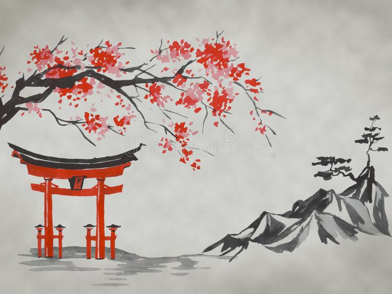 Pintura tradicional do sumi-e de Japão Montanha de Fuji, sakura, por do sol Sol de Japão Ilustração da tinta indiana Imagem japon imagem de stock