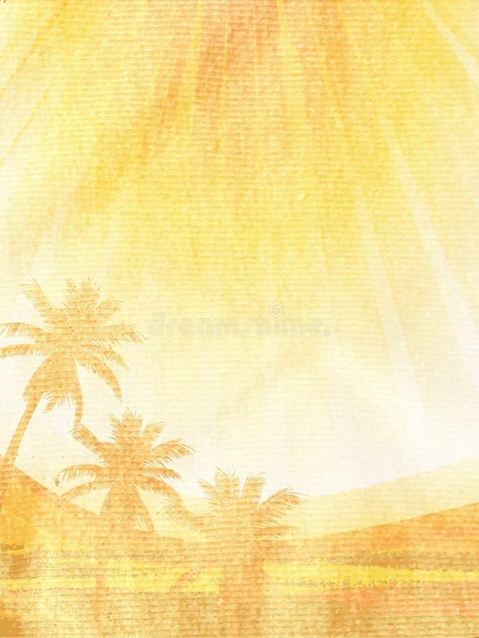 Pintura tropical da cena no material amarrotado marrom imagem de stock