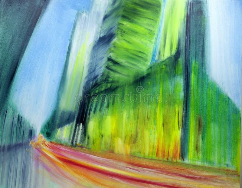 Pintura urbana contempor?nea moderna del paisaje urbano del aceite del extracto libre illustration