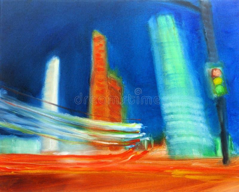 Pintura urbana contempor?nea moderna del paisaje urbano del aceite del extracto ilustración del vector