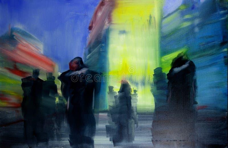 Pintura urbana contempor?nea moderna del paisaje urbano del aceite del extracto imagenes de archivo