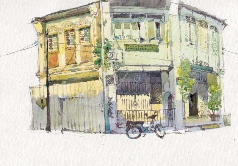 Pintura velha da aquarela da construção do cenário da cidade da herança ilustração stock