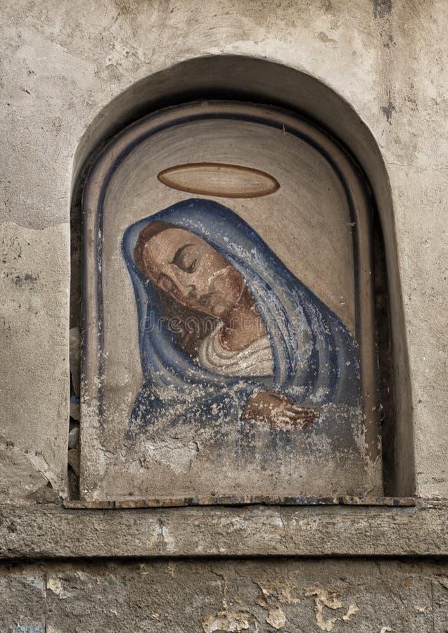 Pintura velha de Madonna, Marina Grande, aldeia piscatória em Sorrento, Itália imagem de stock